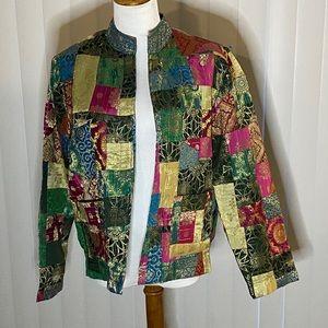 Chico's metallic patchwork jacket Size 8